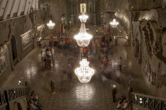 The Chapel of Saint Kinga deep inside Wieliczka salt mine, Poland