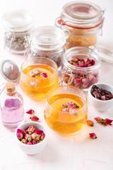 Mix of healthy herbal tea