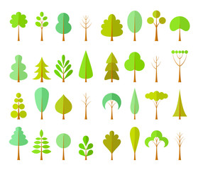Set of different trees in a flat style. Constructor of the forest, park or garden. Vector illustration. Plants for map creator.