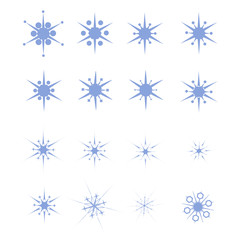 A set of 16 acute-angled snowflakes of various thicknesses. Vector illustration. Isolated on white background