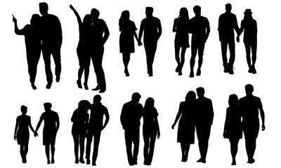 Couple Walking Silhouette | Evening Walk Vector | Healthy Lifestyle | Clipart Clip art Logo