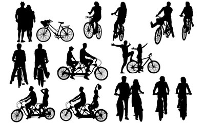Couples Biking Silhouette | Bike Riding  Vector | Fit and Excercise | Clipart Clip art Logo