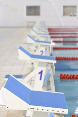 Start position with number 1 in competition swimming pool