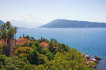 Summer Mediterranean landscape. Montenegro. View of Bay of Kotor (Adriatic Sea) near Herceg Novi city