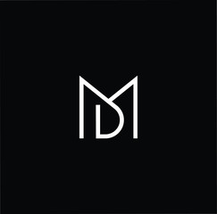 Outstanding professional elegant trendy awesome artistic black and white color MD DM initial based Alphabet icon logo.