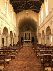 Inside the Carmelite Monastery Chapel above Monastery Beach and the Pacific Ocean in California