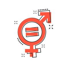 Fototapeta Vector cartoon gender equal icon in comic style. Men and women sign illustration pictogram. Sex business splash effect concept.