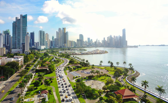 Aerial view of Panama´s  Skyline showing La Cinta Costera Boulevard