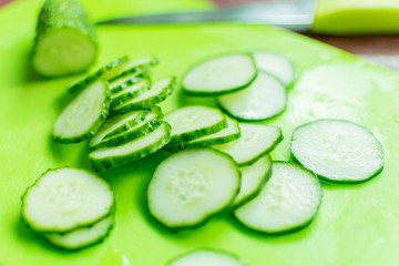 Fresh cucumber cut into slices.