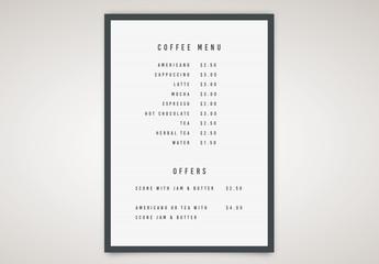 Letter Board Coffee Menu Layout