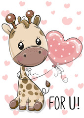 Giraffe with balloon on a hearts background