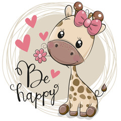 Cute Cartoon Giraffe with flower