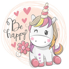 Cute Cartoon Unicorn with flower