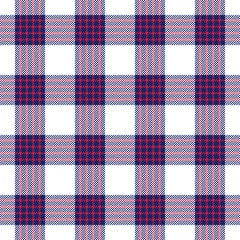 Blue, red and white plaid seamless pattern. Vector background