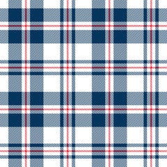 Blue, red and white tartan seamless pattern. Vector background