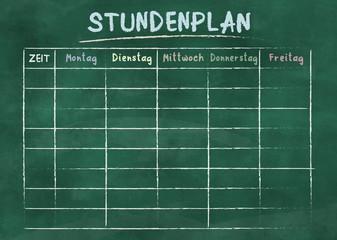 STUNDENPLAN, German for school timetable or class schedule, on green chalkboard