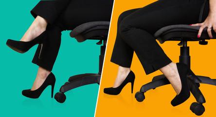 business donna elegante posizioni di seduta