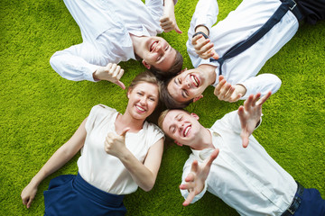 Top down shot of group of young business people having fun.