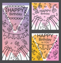 pack of happy birthday card and invitation