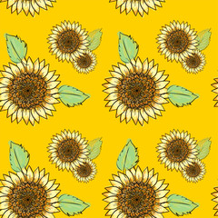 Sunflower vector seamless pattern with green leaves, imitating ink and watercolor on yellow background. Hand-drawn flower heads. Natural themed wallpaper, wrapping,packaging paper,birthday card design