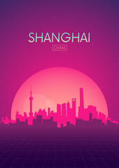 Travel poster vectors illustrations, Futuristic retro skyline Shanghai