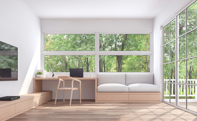 Wall Mural - Modern living room and working conner with nature view 3d render.The room has wooden floor and white wall.furnished with wood furniture.There are large windows look out to see the nature