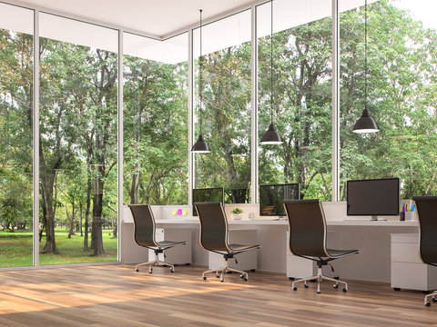 Modern office with nature view 3d render,There are wooden floor.Furnished with black and white furniture.There are large windows look out to see the nature