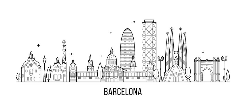 Barcelona skyline Spain city buildings vector