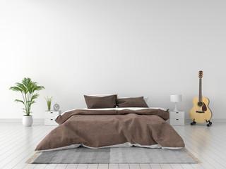 bedroom interior for mockup, 3D rendering