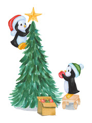Watercolor penguins decorate the Christmas tree. A box of New year toys. Illustration isolated on white background. For greeting postcard