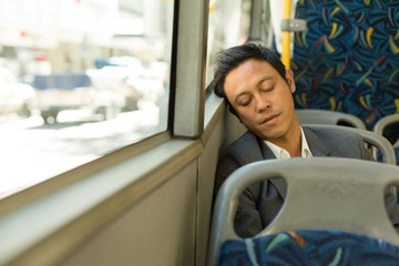Man sleeping in the bus