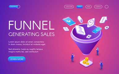 Funnel generation sales vector illustration for digital marketing and e-business technology. Businessman on trade with smartphones and money profit on purple ultraviolet background