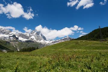 Mount Matterhorn in Alpine landscape, Alps, Italy.