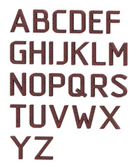 English alphabet. The letters are made of red bricks. 3D rendering