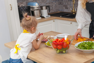 Mother with daughter at kitchen table, cooking concept.
