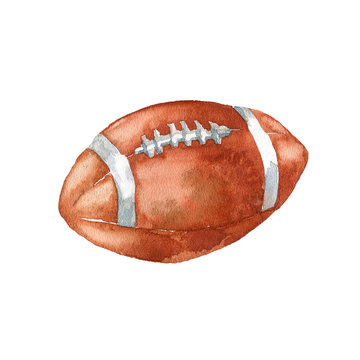 The American football ball on white background.