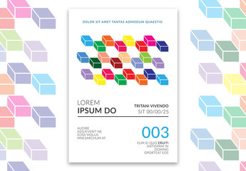Flyer Layout with Colorful Cube Pattern