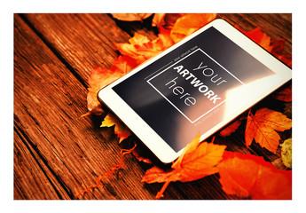 Tablet on Fall Leaves Mockup