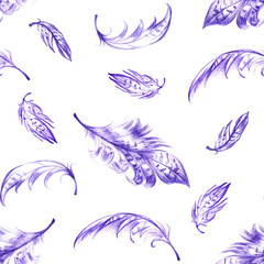 Seamless pattern with violet hand drawn feathers on white background. Seamless texture with feathers in ethnic boho style. Vintage print perfect for home textile or fall fashion