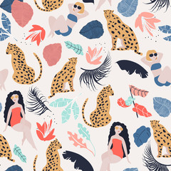 Tropical Girls with Cheetah seamless pattern. Summer paradise in tropical jungles with wild animal, beautiful girl, and fantastic florals.