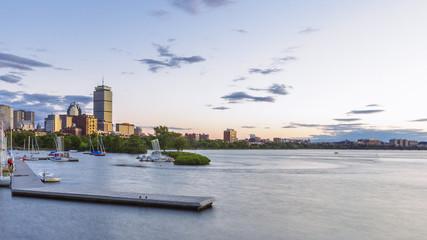 Skyline of Boston over Charles River at Dusk