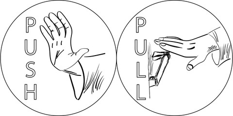 push and pull vector illustration