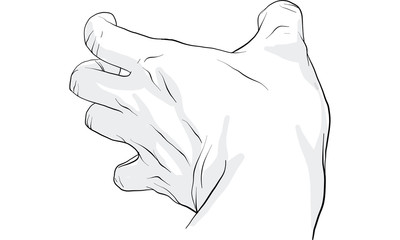 hand action, hand signal , hand drawing vector