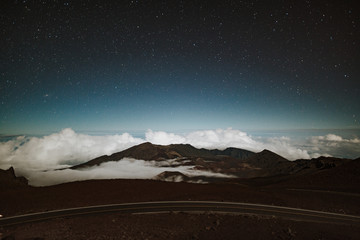 Starry sky on a mountaintop