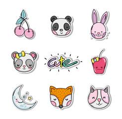 Set of cute cartoons