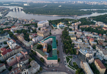 Panoramic Aerial view of Sofievskaya Square and St. Sophia Cathedral and the Dnieper River in the background in Kiev, Ukraine. Tourist Sight. Ukrainian baroque