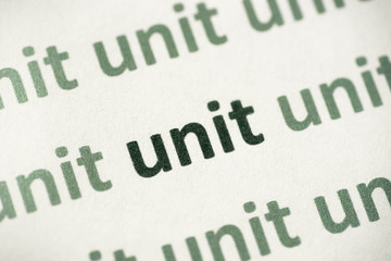 word unit printed on paper macro