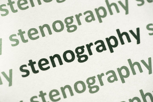 word stenography printed on paper macro
