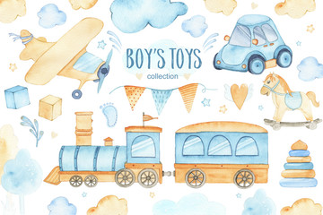 Watercolor boys toys baby shower set with car airplane train garland and trees clouds