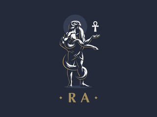 The Egyptian god Ra with an ankh in his hand.